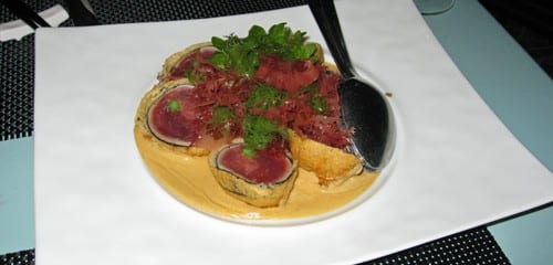 Tempura ahi tuna sashimi with fresh uni sauce